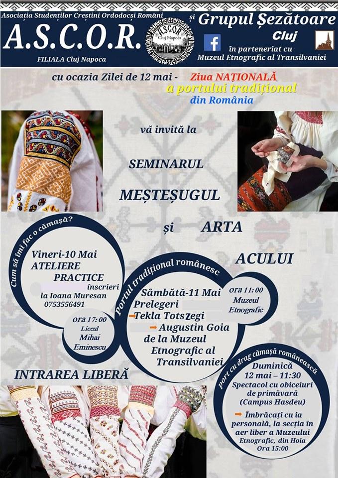 """Seminar ,,Meșteșugul și arta acului!*"""", la Muzeul Etnografic al Transilvaniei"""